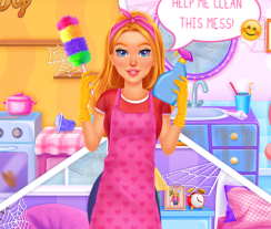 barbie ev temizleme oyunu